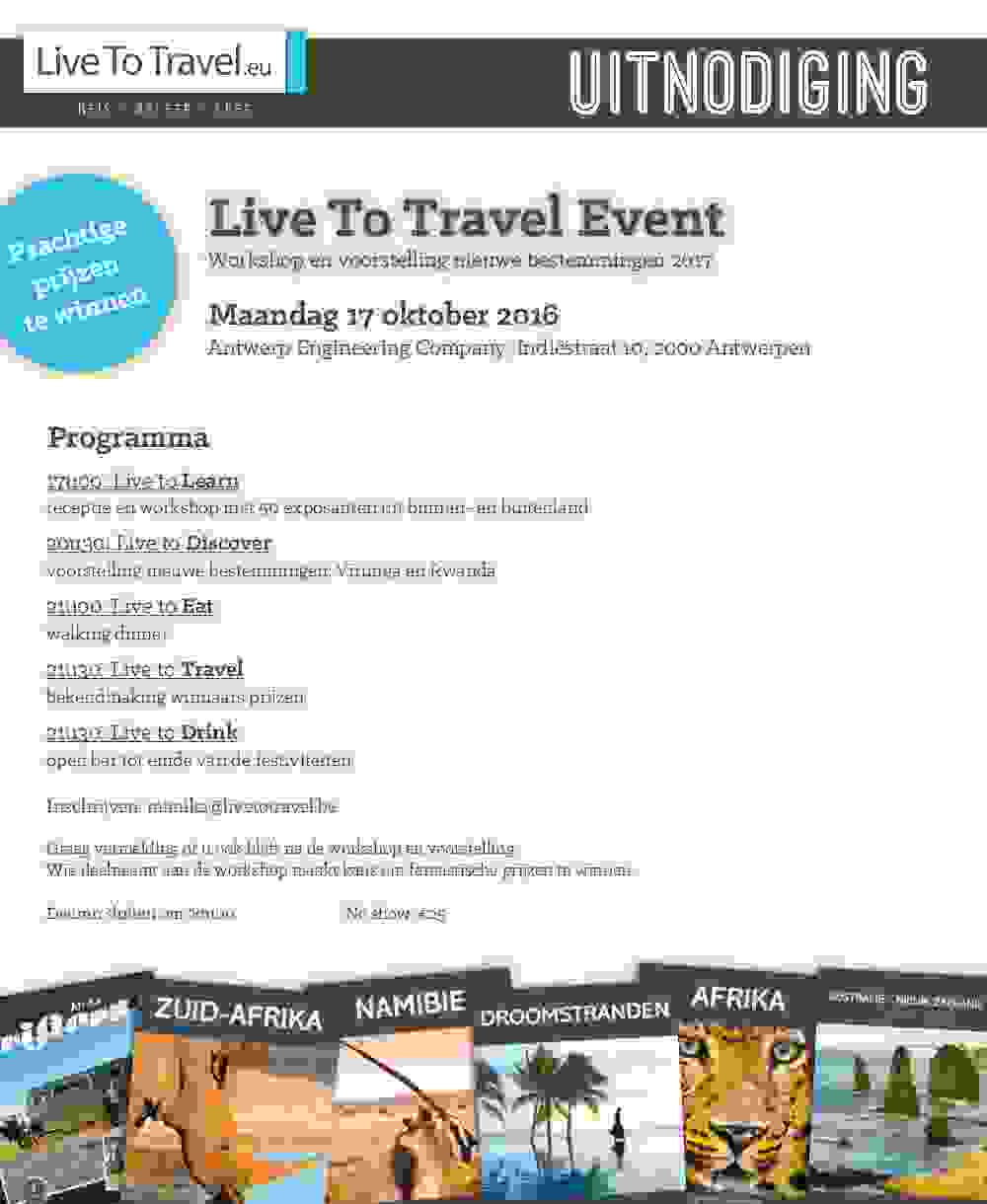 LIVE TO TRAVEL EVENT 17 OKTOBER - LAST CALL